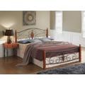 Manželská postel 180x200 cm v dekoru antická třešeň v kombinaci s černým kovem s roštem KN991 (713839) - 2