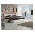 Manželská postel 180x200 cm typu ECOSPRING bílá ekokůže a černá látka TK3024 MEGAKOMFORT (531488) - 3