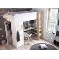 Poschoďová postel 90 cm v kombinaci bílé barvy a congo s matrací KN478 (484430) - 1