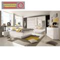 Manželská postel 180x200 cm se 2 nočními stolky , dub bílý a bílá, s osvětlením TK080 (363307) - 2