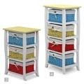Komoda, se třemi košíky, bílá / modrá / žlutá, NIELS 3 (359501) - 2