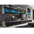 Obývací stěna černá v moderním designu a vysokém lesku LEO s LED osvětlením (353342) - 2