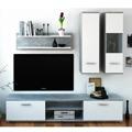 Obývací stěna, beton / bílá, WAW (533423) - 1