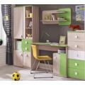 Dětská sestava v dekoru dub v kombinaci se zelenou barvou KN741 (564296) - 2