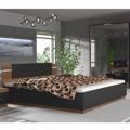 Manželská postel s LED osvětlením 180x200 v dekoru ořech a černá TK3119 (554169) - 1
