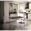 Jídelní set 1 + 4 z bílého kovu a dřeva TK2009 (533654) - 2