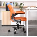 Prošívané pohodlné kancelářské křeslo v oranžové ekokůži s područkami TK231 (449090) - 6