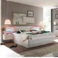 Manželská postel 180x200 cm se 2 nočními stolky , dub bílý a bílá, s osvětlením TK080 (363307) - 3