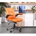 Prošívané pohodlné kancelářské křeslo v oranžové ekokůži s područkami TK231 (449090) - 7
