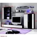 Obývací stěna, s LED osvětlením, bílá/černá extra vysoký lesk HG, CANES NEW (598438) - 2