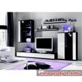 Obývací stěna, s LED osvětlením, bílá/černá extra vysoký lesk HG, CANES NEW (598438) - 1