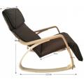 Pohodlné houpací křeslo v hnědé látce s dřevěnou konstrukcí TK3026 (592821) - 3