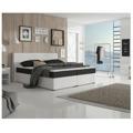 Manželská postel 160x200 cm typu ECOSPRING bílá ekokůže a černá látka TK3024 MEGAKOMFORT VISCO (531522) - 1