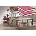 Manželská postel 160x200 cm v dekoru třešeň antická s roštem a matracemi KN139 (566558) - 1