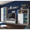 Moderní obývací stěna v bílém lesku a betonové barvě TK301 (489037) - 1