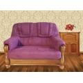 Luxusní pohovka - dvojsedák ROMA v kombinaci dřevo a fialová látka - AKCE (481060) - 1