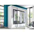 Velká šatní skříň o šířce 250 cm s posuvnými dveřmi a zrcadlem uprostřed v bílé barvě KN513 (491322) - 1