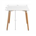 Jídelní stůl 70x70 cm v bílé barvě s dřevěnýma nohama TK168 (530868) - 2