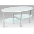 Konferenční stolek 90 x 55 cm bílý a bílé sklo CT-1180 WT (364004) - 1