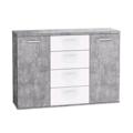 Širší komoda Winnie K26, šedý beton/bílá (841955) - 1