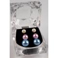 Dámské náušnice perlové - sada 3ks (27232) - 1